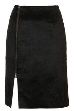 Black Wrap Zip Skirt
