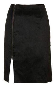 Black Wrap Zip Skirt