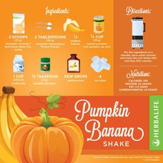 Create your Pumpkin Banana Shake: Scoops Herbalife Fomula 1 Tbsp Herbalife Personalized Protein Powder Banana Cup Canned Pumpkin Cup Non-Fat Milk Tsp Pumpkin Pie Spice *A few drops Vanilla Extract Ice Cubes. Blend it and enjoy. Herbalife Meal Plan, Herbalife Nutrition, Nutrition Shakes, Healthy Shakes, Herbalife Ingredients, Comidas Herbalife, Banana Shake Recipe, Herbal Life Shakes, Smoothie Proteine