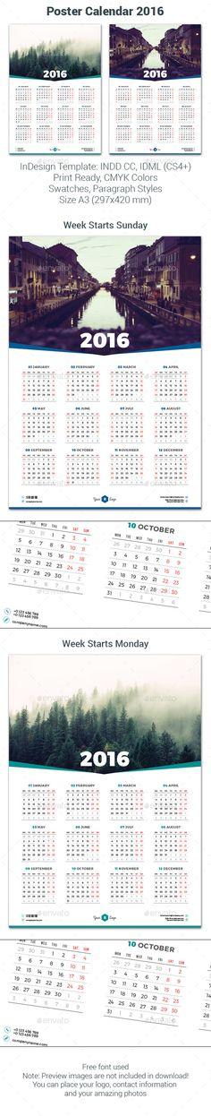 21 Best Calendar Templates For 2016 Calendars 2016, Calendar - indesign calendar template