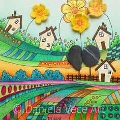 Daniela Vece Art - Paesaggio con fiori gialli - Landscape with yellow flowers