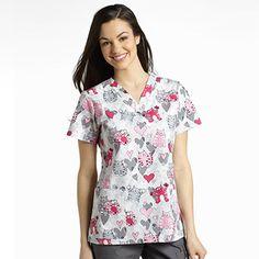 Marvella by White Cross Women's V-Neck Print Top Print:Purr-Fect Scrubs Outfit, Scrubs Uniform, Veterinary Scrubs, Veterinary Technician, Vet Tech Scrubs, White Crosses, Scrub Tops, Work Fashion, Dress Codes