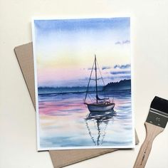 A gorgeous #nautical #watercolor #illustration by @jj_illus of a sailboat mooring in calm waters at sunset. I can't get enough of that lovely gradient of color in the sky which is good because it's reflected in the water's surface! Speaking of the water I love the ripples mildly distorting the reflection of the boat. It shows you that the water is calm and makes you feel like you're watching this boat in a quiet and serene environment. Beautiful piece @jj_illus! ::------:: #painting…