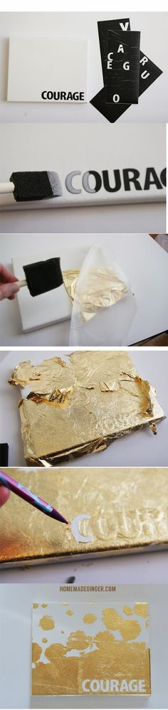 homemade ginger: DIY Gold Leaf Canvas