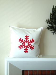 Christmas Pillow Cover - Red Snowflake - Red on White - Holiday Home Decor on Etsy, $22.00