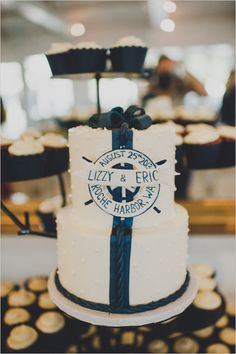 nautical wedding cake #nauticalwedding http://www.weddingchicks.com/2013/12/05/navy-and-yellow-nautical-wedding/