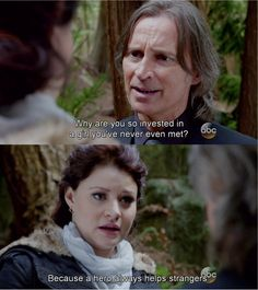 """""""Because a hero always helps strangers."""" Belle and Rumple - 4 * 6 """"Family Business."""""""