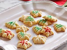 Butter Spritz Cookies recipe from Food Network Kitchen via Food Network Butter Spritz Cookies, Butter Cookies Recipe, Buttery Cookies, Wilton Spritz Cookie Recipe, Yummy Cookies, Holiday Cookie Recipes, Holiday Baking, Christmas Baking, Holiday Treats