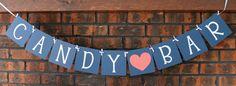 Candy Bar Banner / Wedding Decor / Wedding / Wedding Garland / Wedding Reception / Wedding Sign / Photo Prop / Decoration / Navy Blue/Coral
