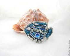 """Купить Кулон - брошь из бисера """"Рыбка теплых морей"""" - разноцветный, beads, swarovski, handmade, бисер"""