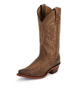 Brown & Taupe Embroidered Leather Western Boots