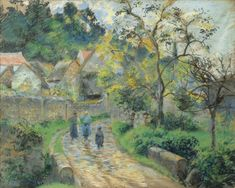 Camille Pissarro 1830 – 1903 RUE DE VILLAGE À AUVERS signed C. Pissarro and dated 1880 (lower left) pastel on paper laid down on canvas 59 by 71.5cm. Executed in 1880.