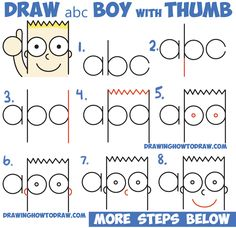 """How to Draw Cute Cartoon Boy / Kid With Thumb Up from """"abc"""" with Easy Step by Step Drawing Tutorial for Kids"""