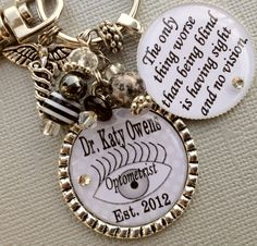 OPTOMETRIST Personalized keychain  OD MD eye doctor by buttonit, $23.50