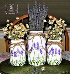 Lavender Flower Mason Jar Vases. Hand-Painted,Distressed - Wedding or Shower Centerpieces. Flowers Not included. Mother's Day, Easter