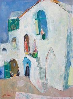 Neveh Tzedek, Tel Aviv (1969), oil on canvas by Nachum Gutman (1898-1980), Israeli (lawrenceleemagnuson)