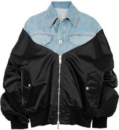 Unravel Project - Denim And Satin-shell Bomber Jacket - Mid denim  #ShopStyle #MyShopstyle #fallfashion #wearitloveit # Women bomber jacket #quilted #wool #leather #fleece # camouflage # Faux-fur  click for more information or to purchase the item