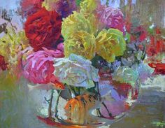 """""""Roses with Koi and Goldfish"""" 24"""" x 30"""" Oil on Canvas, David Gallup"""