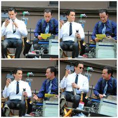 Matt Bomber and Tim DeKay on set of White Collar