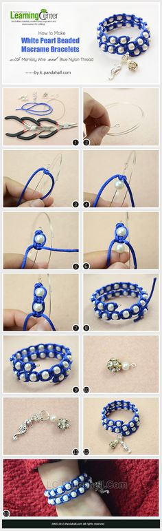 How to Make White Pearl Beaded Macrame Bracelets with Memory Wire and Blue Nylon Thread