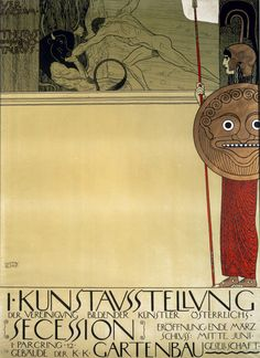 """Gustav Klimt, Poster of the First Secession Exhibition The Vienna Secession In 1897, alongside other young Austrian artists and architects, Klimt broke away from the Vienna """"Artists' House"""" (Künstlerhaus) — the exhibition venue dominated by academically established painters."""