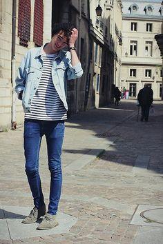 Clarks Desert Boots, Cheap Monday Blue Jeans, Levis Déni Jacket - Man without country - Florentin Glémarec