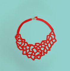 CORAL - Collana Handmade in ecopelle tagliata