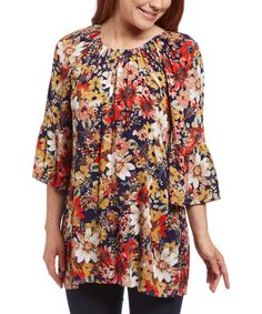 Look at this MOA Collection Navy Floral Ruched Bell-Sleeve Tunic on #zulily today!