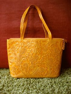 Unique  Yellow Hand Tooled Leather  Purse by ChamanShop on Etsy, $175.00