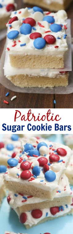 Patriotic Sugar Cookie Bars are my FAVORITE! Super soft and chewy sugar cookie bars with the best homemade frosting. | Tastes Better From Scratch (Favorite Desserts Recipes)
