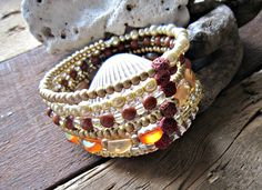 6 wrap goldstone, pearl and red lava bead diffuser bracelet by GroundedInBeauty on Etsy