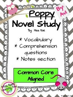 Poppy by Avi Novel Study l Comprehension Questions l Vocabulary / Common Core Aligned First Grade Themes, 3rd Grade Books, Poppy Book, Teaching Special Education, Comprehension Questions, Spanish Lessons, Kindergarten Worksheets, Teaching Reading, Book Activities