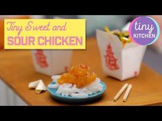 YouTube Tiny Cooking, Take Out Containers, Sweet Sour Chicken, Make It Yourself, Dishes, Cake, Kitchen, Youtube, Desserts