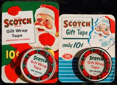 Vintage santa gift tape and old greeting cards from 20th century.