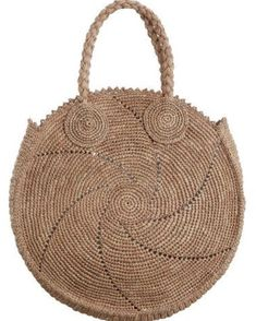 Shop for Zimmermann Circular Woven Tote at ShopStyle. Crochet Tote, Crochet Handbags, Bead Crochet, Womens Designer Bags, Designer Bags Online, Crochet Circles, Round Bag, Basket Bag, Knitted Bags