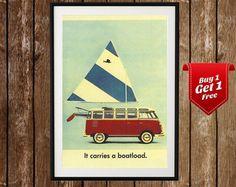 Vintage Volkswagen Van Poster - VW Van, VW Print, Hippy Van, Volkswagen Print, Vintage Car Poster, Vintage Car Print, Vintage Van Print