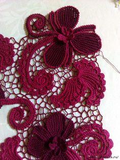 Мастер класс цветка от Натальи Котельниковой тунисским вязанием   Ирландское кружево.   Постила
