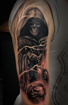 A mysterious Grim Reaper tattoo. The reaper seems to be throwing coins with skulls on them. It looks to be signifying that the reaper is tossing death wishes for the souls it's about to take. #NeatTattoosIWouldHave