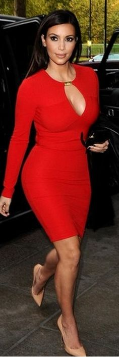 Kim Kardashians red dress