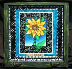 Sun Flower Oil Pastel framed in a vintage window  www.tanyadesigns.net