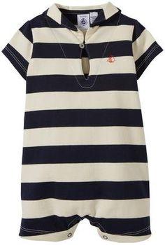 Petit Bateau Striped Sailor Collar Romper (Baby) - Navy/Cream