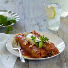 Vegan Mushroom, Kale, and Quinoa Enchiladas - Shape Magazine- use a Gluten Free tortilla