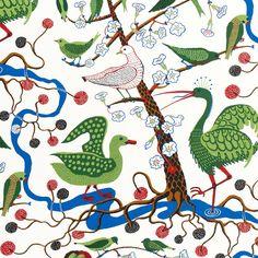 Textil Gröna Fåglar 315 Lin   Svenskt Tenn