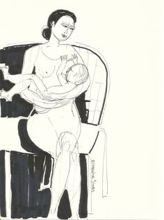 Ink drawing MOTHER AND BABY // natural breast by elisavetasivas
