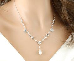 "Crystal ""Set"" Wedding Bridal Crystal Necklace. $66.00, via Etsy."