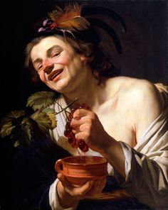 Gerard van Honthorst, Young Man Crushing Grapes into an earthen pot, Caravaggio in Holland, The Städel Museum Baroque Painting, Baroque Art, Italian Painters, Italian Artist, Chiaroscuro, Rembrandt, Michelangelo Caravaggio, Städel Museum, Renaissance Kunst