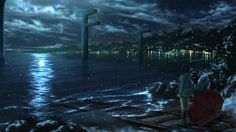 ichimiya_(araintell) nagi_no_asukara night scenic shiodome_miuna snow umbrella water