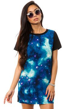 The Galaxy Dress in Black and Navy Multi by *MKL Collective use rep code: OLIVE for 20% off!