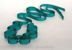 carolyn waweru jewellery - Teal grosgrain necklace