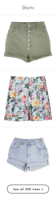 """""""Shorts"""" by lostinthecosmics ❤ liked on Polyvore featuring shorts, bottoms, pants, short, green, denim shorts, women, high waisted short shorts, short shorts and high waisted denim shorts"""